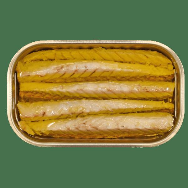 Lata aberta de filetes de cavala em azeite Minerva