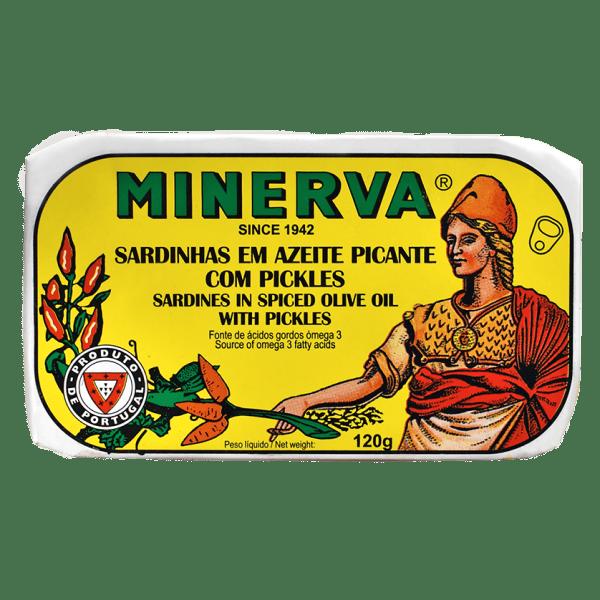 Sardinhas en azeite picante com pickles Minerva