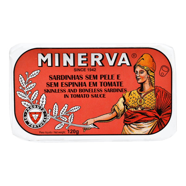 Sardinhas enlatadas sem pele sem espinhas em tomate Minerva